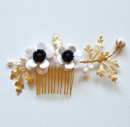 Lidia Hair Comb in Black and White Anemone and Oak Leaf Branches