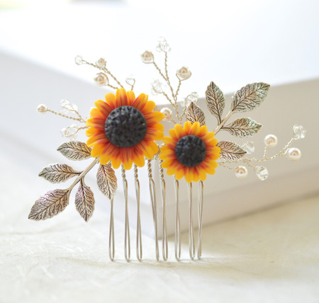 Angie Small Hair Comb in Red and Yellow Sunflower