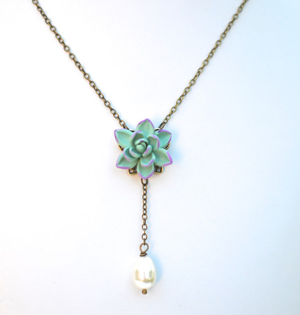 LUNA Y Drop Necklace  in Dusty Mint Purple Succulent