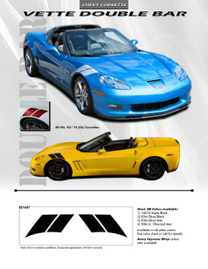 Chevy Corvette OE Style Double Bar Decals Premium Vinyl Stripe Kit 2005-2014