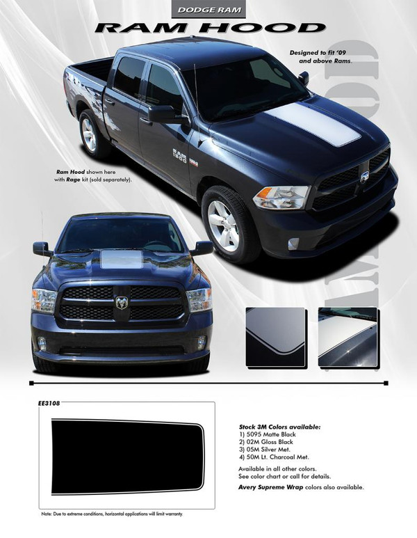 RAM RAGE HOOD 2009-2018 Dodge Ram Racing Stripes Hood Decals Graphics 3M