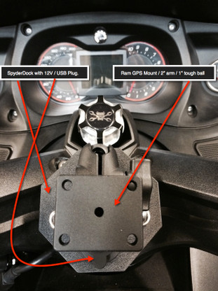 Can-Am Spyder, SpyderDock with Ram GPS Mount (with 12v CIG/USB ) (LG-1084-347U) by Lamonster
