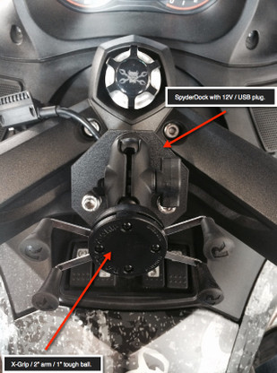 Can-Am Spyder, SpyderDock with X-Grip Combo (with 12v CIG/USB ) (LG-1084-UN7B) by Lamonster Shown on RT