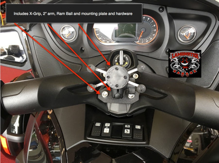 Can-Am Spyder Ram mount with X-Grip for ST and 2013-16 RS (LG-1085-UN7B) by Lamonster