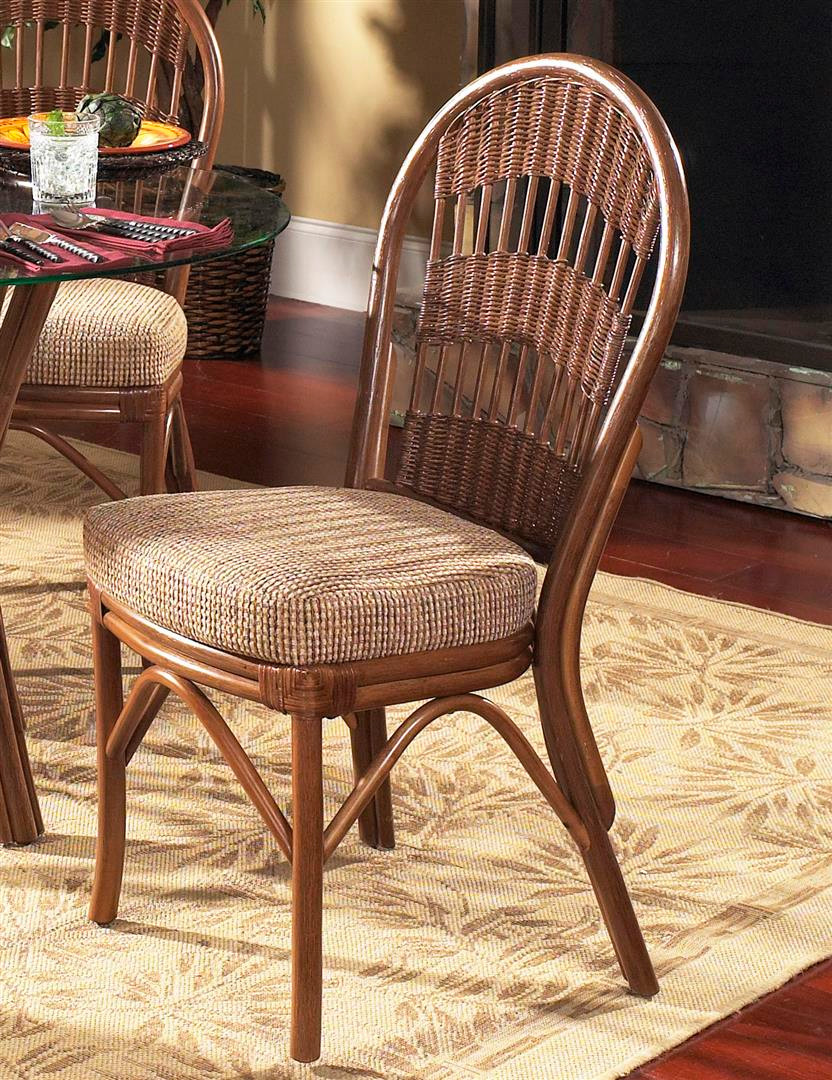 South Sea Rattan Bermuda Indoor Side Chair Modern Wicker
