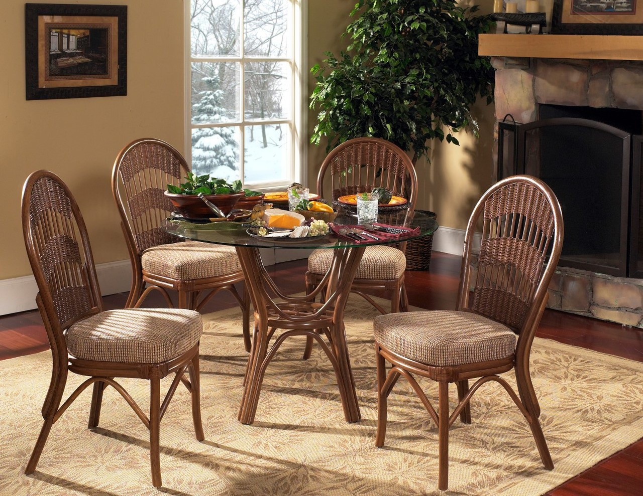 South Sea Rattan Bermuda Indoor Dining Room Set With Side
