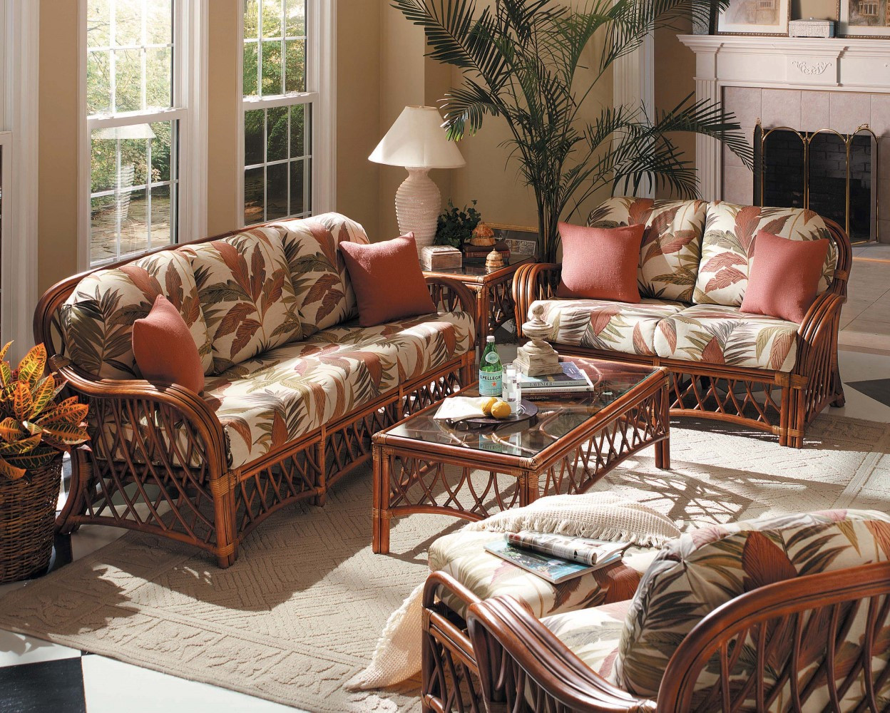South Sea Rattan Antigua Indoor Living Room Set Modern