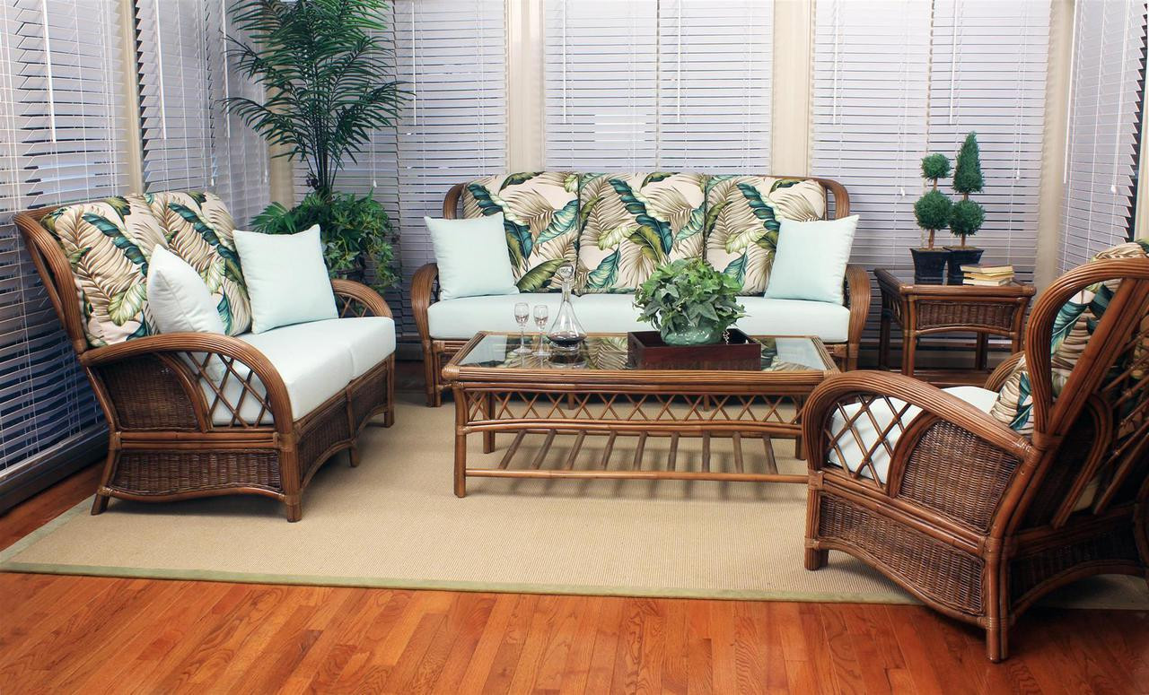 South Sea Rattan Bali Indoor Wicker Living Room Set