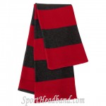 Red Charcoal Stripe Sports Knit Scarf