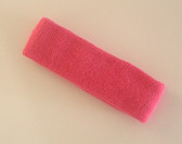 Bright pink terry sport headband for sweat
