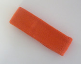 Dark orange terry sport headband for sweat
