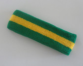 Green yellow green stripe terry sport headband for sweat