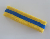Yellow blue yellow stripe terry sport headband for sweat