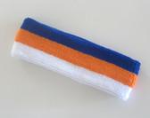 Blue orange white stripe terry sport headband for athletic sweat