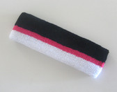 Black hot pink white striped terry sport headband for sweat