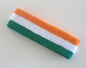 Orange white green striped terry sport headband for sweat