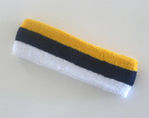 Yellow navy white striped terry sports headband for sweat