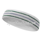Green sky blue green lines in white tennis headband terry cloth