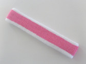 White pink white striped tennis headband terry long