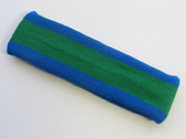 Green with blue trim headband sports pro
