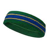 Green blue with yellow lines basketball headband pro