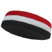Black white red striped headband sports pro