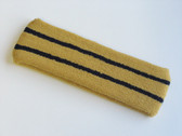 Gold basketball headband pro with 2 black stripes