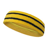 Yellow basketball headband pro with 2 black stripes