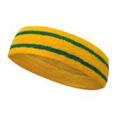 Golden Yellow basketball headband pro with 2 green stripes