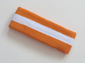 Orange white orange striped terry sport headband for sweat