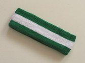 Green white green striped terry sport headband for sweat