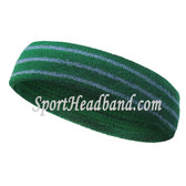 Green with steel blue lines tennis headband terry cloth