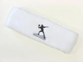 White custom sports headband sweat terry