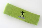 Lime green custom sports headband sweat terry