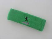 Bright green custom sports headband sweat terry