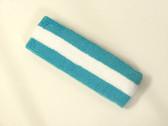 Sky blue white sky blue striped terry sport headband for sweat