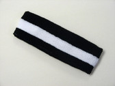 Black white black striped terry sport headband for sweat