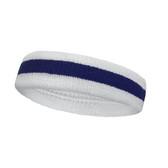 White blue white striped terry tennis headband for sweat