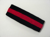 Black red black striped terry sport headband for sweat