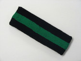 Black green black striped terry sport headband for sweat