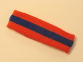 Dark orange blue dark-orange striped terry sport headband for sweat