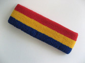 Blue golden yellow red stripe terry sport headband for sweat