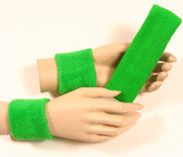 Bright green headband wristband set for sports sweat