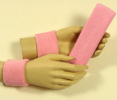 Light pink headband wristband set for sports sweat
