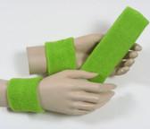 Lime green headband wristband set for sports sweat