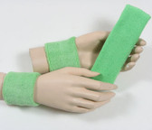 Pale green headband wristband set for sports sweat