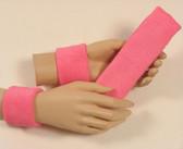 Pink headband wristband set for sports sweat