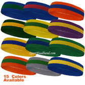 Couver Premium Quality 2 Colored Striped Terry Cloth Sport Headband(Many Colors)