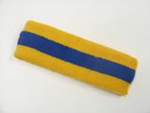 Golden yellow blue golden yellow stripe sport headband for sweat