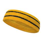 Golden yellow basketball headband pro with 2 black stripes